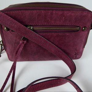 Frye Leather Zip Top Sangria Camera Bag Purse NWT